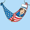 Portrait of little boy in Uncle Sam costume resting in hammock of American flag