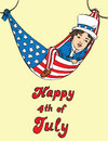 Portrait of little boy in Uncle Sam costume resting in hammock of the American flag, Happy 4th of July, card design