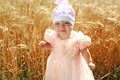 Portrait of little child girl in wheat field Stock Photography