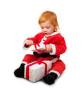 Portrait of little cute baby in red suite isolated Royalty Free Stock Photos