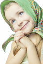 Portrait of little cute girl in bright color scarf Stock Images