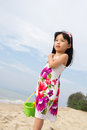 Portrait of little girl on beach Stock Photos