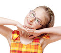 Portrait of a little girl with blond hair and glasses isolated on white Stock Photography