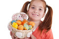 Portrait of little girl with Easter egg basket Stock Image