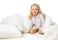 Portrait of a little girl goes to bed bed sleep rest Stock Images