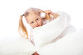 Portrait of a little girl goes to bed bed sleep rest Royalty Free Stock Image