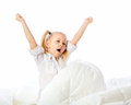 Portrait of a little girl goes to bed bed sleep rest Royalty Free Stock Photos