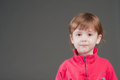 Portrait of the little girl on a gray background. Stock Photography