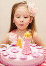 Portrait of little girl and her birthday cake Royalty Free Stock Photo