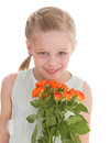 Portrait of a little girl she is holding bouquet pink roses on holiday isolated on white background Royalty Free Stock Image