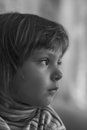 Portrait of little girl profile close up Stock Images
