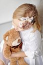 Portrait of little girl and Teddy Royalty Free Stock Image