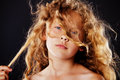 Portrait of little girl with windy hair. Fashion photo Royalty Free Stock Photo