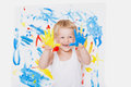 Portrait of a little messy kid painter. School. Preschool. Education. Creativity Royalty Free Stock Photo