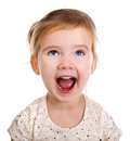 Portrait of little screaming girl Stock Photo