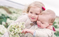 Portrait of the little sister and its toddler brother Royalty Free Stock Photo