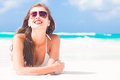 Portrait of long haired girl in bikini wearing red Royalty Free Stock Photo