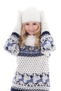 Portrait of lovely beautiful girl posing in winter clothes isola isolated on white background Royalty Free Stock Photos