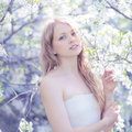 Portrait lovely cute girl in a spring Royalty Free Stock Photo