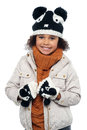 Portrait of a lovely little girl in winter outfit Stock Image