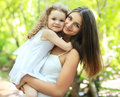 Portrait lovely mom and daughter Royalty Free Stock Photo