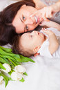 Portrait of lovely mother and baby Royalty Free Stock Images