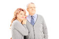 Portrait of loving middle aged couple posing isolated on white background Stock Image