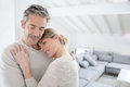 Portrait of loving serene mature couple at home Royalty Free Stock Photo
