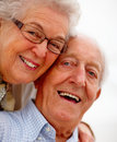 Portrait of lovingly smiling old couple Royalty Free Stock Photos