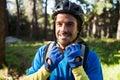 Portrait of male mountain biker wearing bicycle helmet Royalty Free Stock Photo