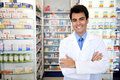 Portrait of a male pharmacist at pharmacy Royalty Free Stock Photo