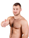 Portrait of a man attractive figure bodybuilder isolated on white muscle with perfect body Stock Photography