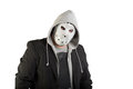 Portrait of a man in creepy mask suit and Stock Photography