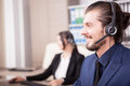 Portrait of man from customer support line in the office Royalty Free Stock Photo