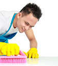 Portrait of man doing some cleaning work in the house Stock Photography