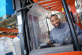 Portrait man in forklift truck Royalty Free Stock Photo