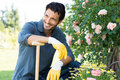 Portrait of man gardening happy outdoor in spring Stock Photo
