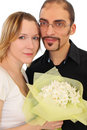 Portrait of man in glasses and beauty blond girl Stock Photography