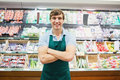 Portrait of man grocer smiling Royalty Free Stock Photo