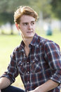 Portrait of a man handsome in flannel shirt Royalty Free Stock Photo