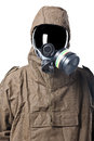 Portrait of a man in hazard suit wearing an nbc suite nuclear biological chemical Stock Photos