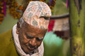 Portrait of a man nepal brahman old hindu Stock Photo