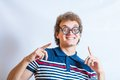 Portrait of a man with nerd glasses n studio fun head and shoulders shot gesturing Royalty Free Stock Photos