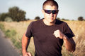 Portrait of a Man running protective goggles Royalty Free Stock Photo