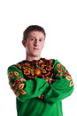 Portrait of man in russian traditional costume colorful Royalty Free Stock Image