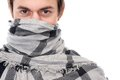 Portrait of a man with scarf covering face Royalty Free Stock Photo
