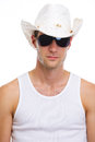 Portrait of man in sunglasses and holiday hat Stock Photography