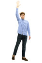 Portrait of a man waving his hand over white background Stock Photos