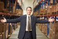 Portrait of manager in warehouse smiling o camera Royalty Free Stock Photo