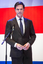 Portrait of mark rutte in front of the dutch flag hanover germany april prime minister at opening hannover messe april hannover Stock Photos